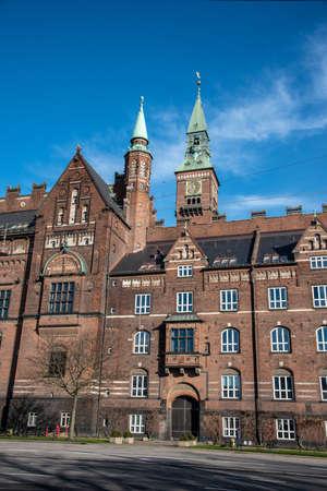 Facade of the city hall in Copenhagen (DK) 免版税图像