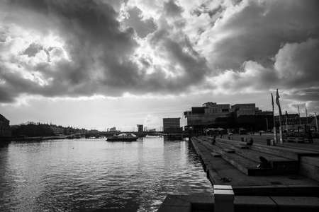 Views of the buildings beside the water in Copenhagen (DK)