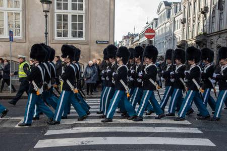 Copenhagen (DK) - February 14th 2020: Copenhagen Royal Life Guards marching to Amalienborg Palace