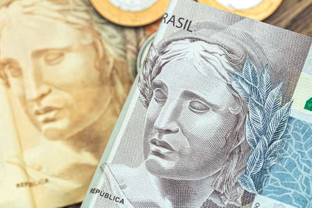 Money, Brazil, Money, Real, Reais. Real currency, money from Brazil. Brazilian banknotes in close up.