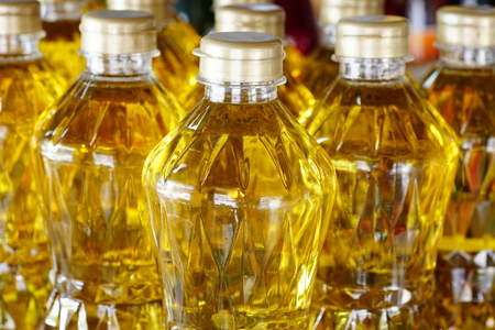ingedient: detail of olive oil on shelf for sell in the hypermarket, Thailand, Asia