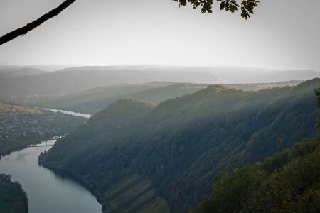 View of the Moselle and its vineyards Imagens