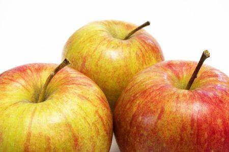 Three red apples Stock Photo