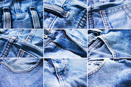 washed: Details of stone washed blue jeans Stock Photo