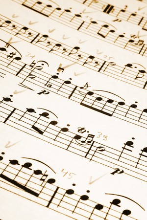 Musical notes with handwritten remarks Stock Photo