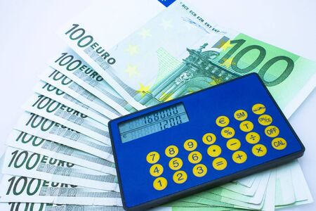 European currency and calculator Stock Photo