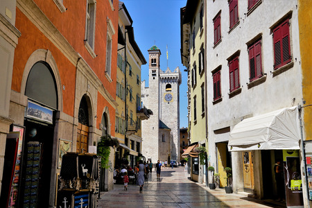 Street to the Cathedral of Trento, Italy.