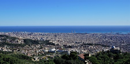 From the top of the Tibidabo looking at the privileged setting of Collserola Hill almost the whole of Barcelona, Spain.