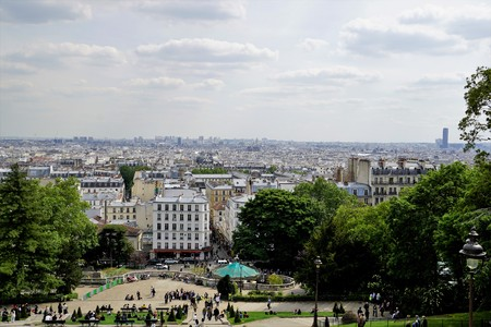 Panoramic views of Paris from Hill Montmartre, France.
