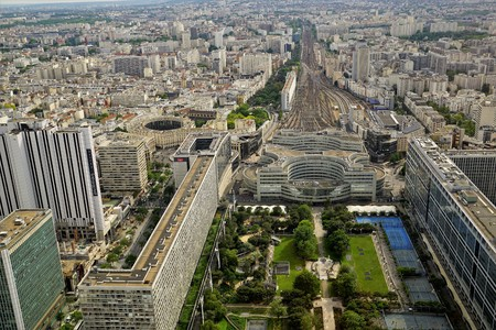 Panoramic sight of the famous Montparnasse railway station, Paris, France.
