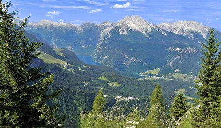 Panorama of the Bavarian Alps Germany KEHLSTEINHAUS. In the background can be seen the Lake Konigssee.