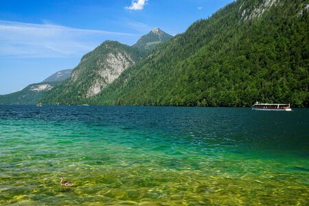 A look at the charming Lake Konigssee, Bavarian Alps, Germany. Stok Fotoğraf