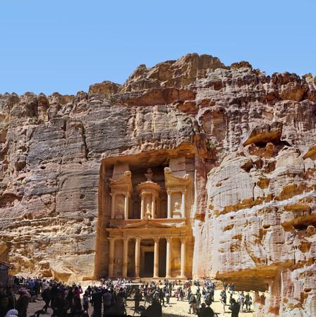 Panorama of The Treasury  in ancient Petra, Jordan. Editorial