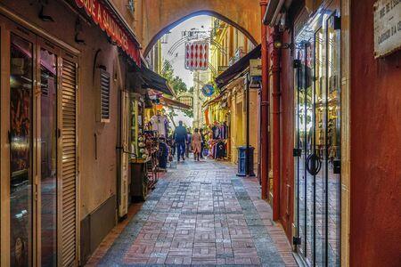 A small shopping street of Monaco, Principality Monaco.