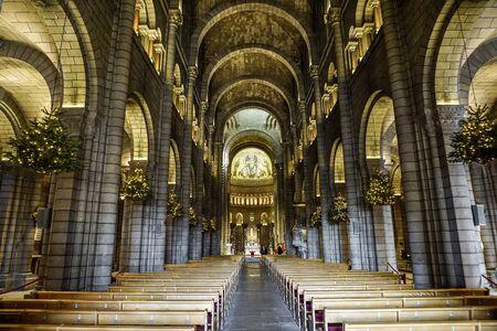 Inner panorama of St. Nicholas Cathedral, Principality Monaco. In it are buried former rulers of Monaco. Zdjęcie Seryjne