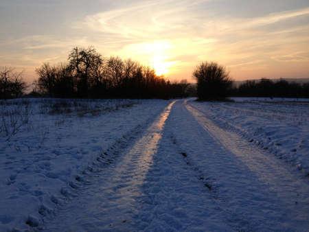 idylle: Verschneiter Weg in den Sonnenuntergang