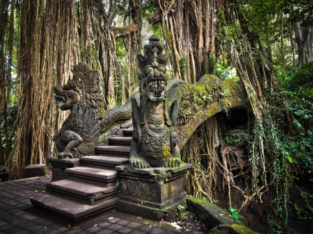 Elaborate bridge at the Monkey Forest Sanctuary in Bali, Indonesia