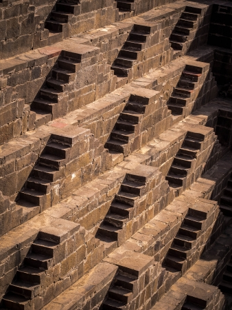 chand baori: Multiple stairs at the ancient Chand Baori stepwell in the village of Abhaneri in Rajasthan, India