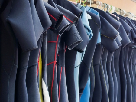 複数の掛かるウェット スーツのライン 写真素材