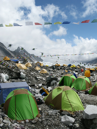 mount everest: Everest Base Camp at the foot of Mount Everest in Nepal Stock Photo