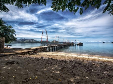 komodo island: The main pier on Komodo Island, natural habitat of the Komodo Dragon, Indonesia Stock Photo