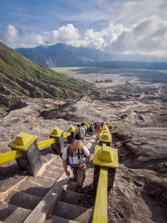 going places: Visitors climbing strairs towards the rim of Gunung Bromo in East Java, Indonesia