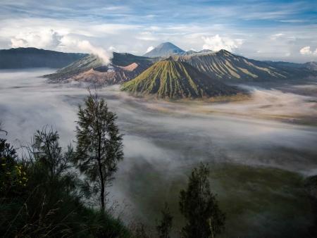 Gunung Bromo, Mount Batok and Gunung Semeru Seen from Mount Penanjakan photo