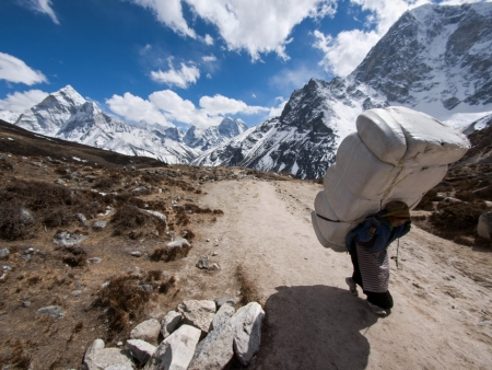 Sherpa Porter on Everest Base Camp Trek, Nepal