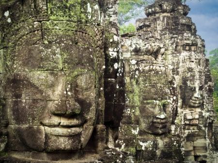 bayon: Giant Stone Faces at Ancient Bayon Temple in Angkor, Cambodia