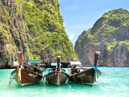 Long-tail Boats in Maya Bay, Ko Phi Phi, Thailand