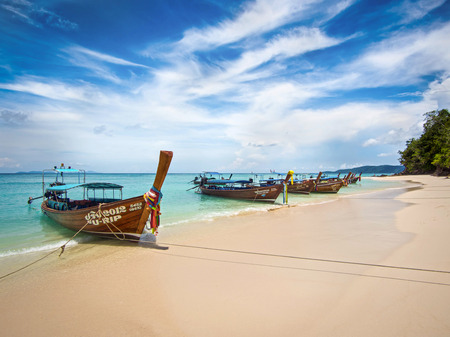 Long-tail Boats on the Shore of Bamboo Island, Ko Phi Phi, Thailand