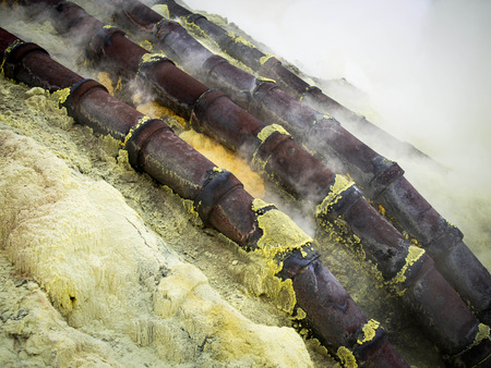 sulphur: Ceramic Pipes Used for Sulfur Mining at Kawah Ijen Volcano