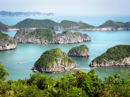 Limestone Islands in Halong Bay, Vietnam photo