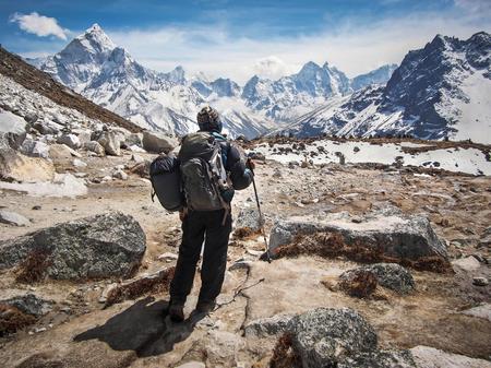 Trekker Walking on the Everest Base Camp Trek, Nepal