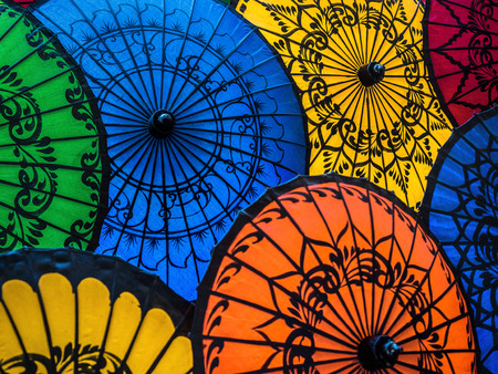 Colorful Umbrellas on Display at Street Market in Bagan, Myanmar