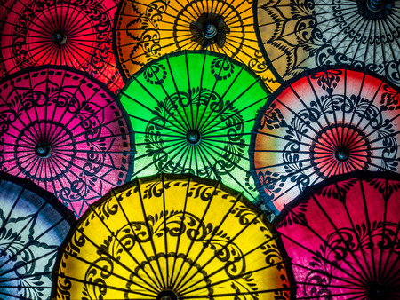oriental: Colorful Umbrellas on Display at Street Market in Bagan, Myanmar