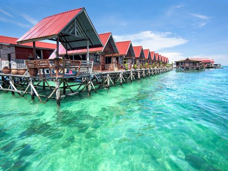 Mabul 島、サバ、東マレーシアのバンガロー