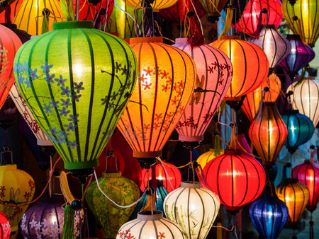 colorful lantern: Traditional lamps in Old Town Hoi An, Central Vietnam.