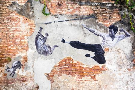 Famous Street Art Mural in Georgetown, Penang, Malaysia Editorial