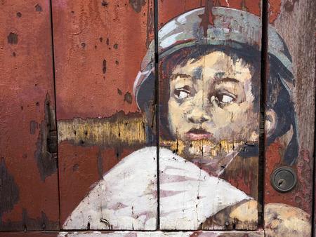 casco de moto: Calle Famoso Arte Mural en Georgetown, Penang, Malasia