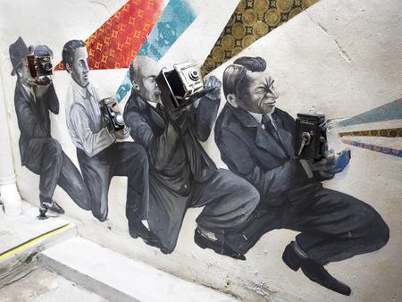 アート壁画、マレーシア、ペナンのジョージタウンにカメラ博物館 報道画像