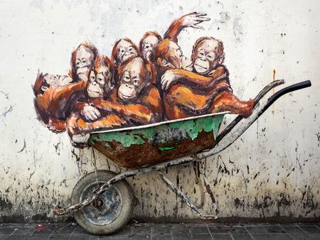 Famous Street Art Mural in Kuching, Sarawak, Malaysia Editorial