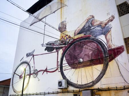 trishaw: Famous Street Art Mural in George Town, Penang, Malaysia