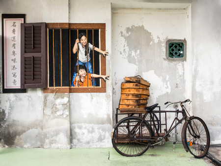 有名な通りジョージタウン、ペナン、マレーシアの壁画 報道画像