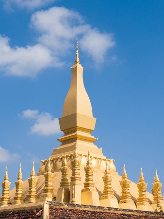 lao: Pha That Luang Stupa in Vientiane, Laos Stock Photo