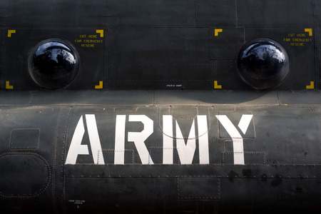 fuselage: Detail of American Army Helicopter Fuselage from Vietnam War Era