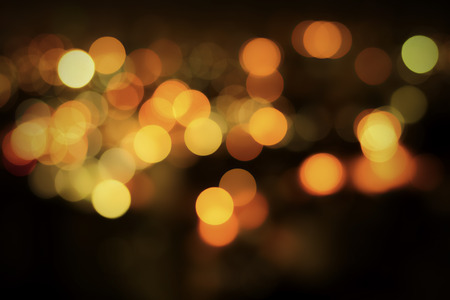 Abstract Bokeh Background of Night Traffic with Defocused Lights Stock Photo