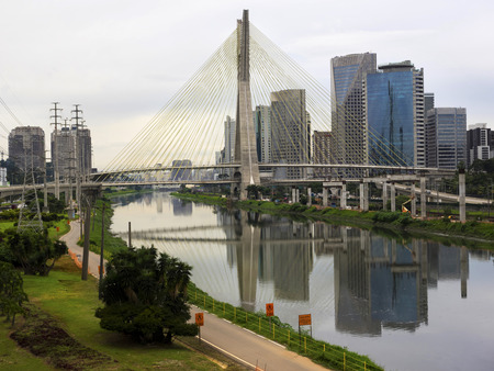 The Octavio Frias de Oliveira Cable-Stayed Bridge, aka Ponte Estaiada, in Sao Paulo, Brazil photo