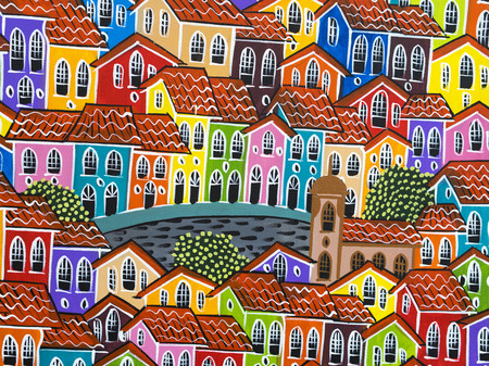 colonial: Colorful Painting of the Old Colonial Houses of Pelourinho by Street Artist in Salvador, Bahia, Brazil Stock Photo