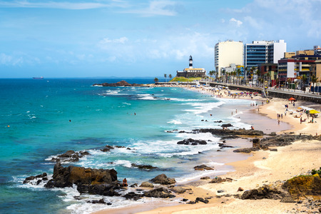 Barra Beach and Famous Farol da Barra (Barra Lighthouse) in Salvador, Bahia, Brazil